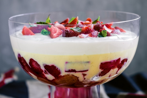 fruit custard pudding cake