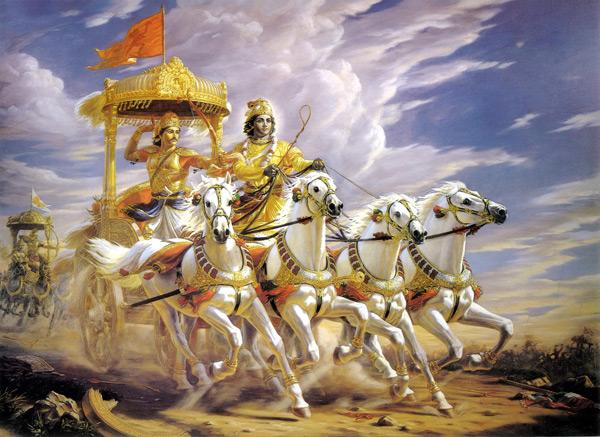 Bhagavad Gita Shree Krishna and Arjun On Chariot in MahaBharat