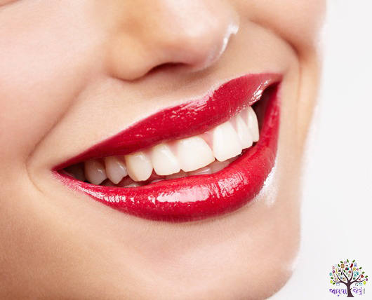What have yellow teeth, and polished in this way, avoid such things