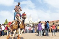Sun of the ministry is to ride two horses young, Kutch scenes found