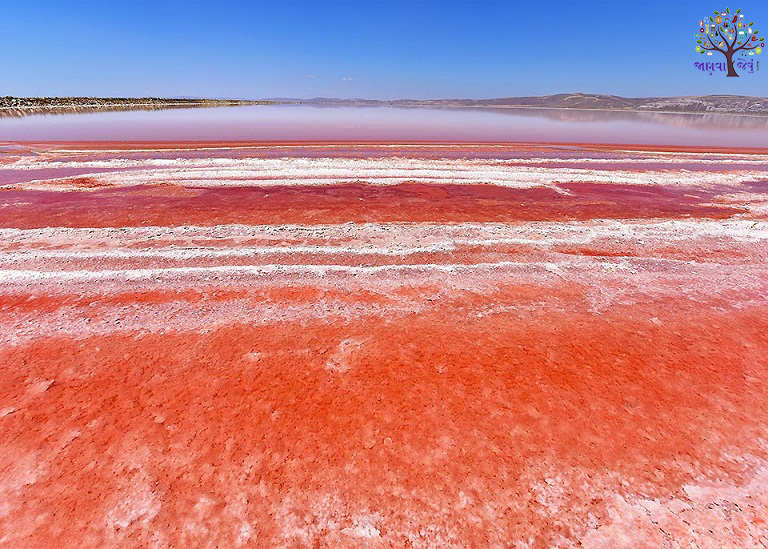 This is kind of a strange lake, the water becomes red like blood