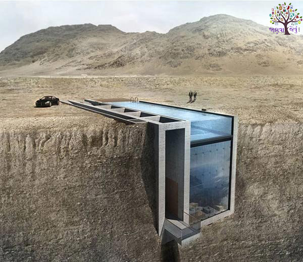 Luxourier  house architect built between two rocks, viral