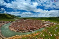 Buddhist nuns in Tibet's largest temple, is a study of 10,000 nuns
