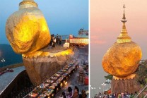 rolling stone defies gravity teeters terrifyingly cliff in myanmar | Janvajevu.com
