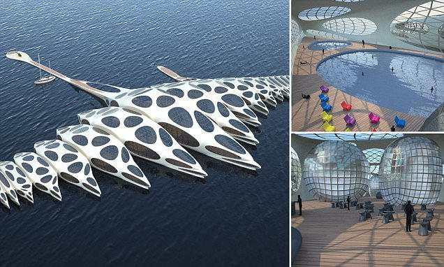 spine shaped floating hotel designed by gianluca santosuosso in london