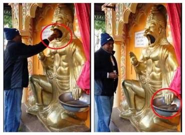 ચમત્કાર : આ મંદિરમાં હનુમાનજીના મોઢામાં નારિયેળ રાખતા જ થઇ જાય છે ટુકડા