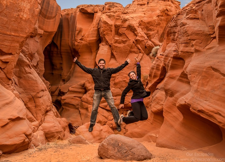 Our Escapades - Upper Antelope Canyon - Us Jumping