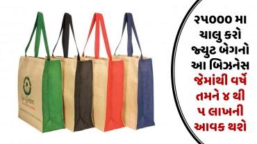 ૨૫૦૦૦ મા ચાલુ કરો જ્યુટ બેગનો આ બિઝનેસ જેમાંથી વર્ષે તમને ૪ થી ૫ લાખની આવક થશે