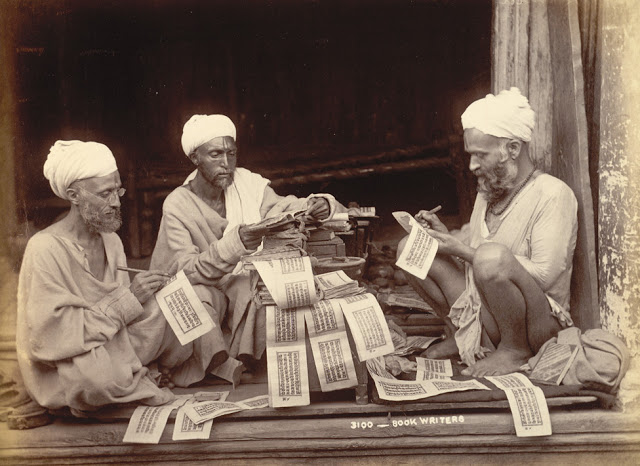 Three Hindu priests writing religious texts in the Jammu and Kashmir - 1895