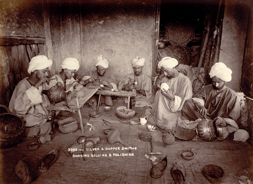 group of silver & copper smiths in a workshop in Jammu and Kashmir in India - 1895
